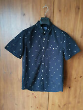 "TOPMAN SHIRT Black Windmill Print Regular Fit Short Sleeve M / 38-40"" Chest NEW"