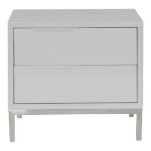 """24"""" W Nightstand Dual Drawer Side Table Polished Stainless Steel Lacquer Finish"""