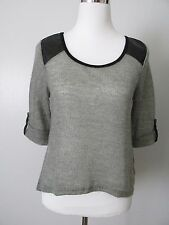 Roomates Gray/Black Detailed 3/4 Sleeve Knit Sweater Top NWOT SZ: Juniors L