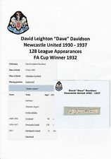 DAVE DAVIDSON NEWCASTLE UTD 1930-1937 VERY RARE ORIG HAND SIGNED CUTTING/CARD