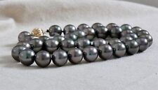 "HUGE 22""10-11MM NATURAL TAHITIAN GENUINE BLACK ROUND PEARL NECKLACE 7788"