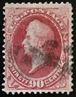 #144 Used, 1870 90c Perry H-Grill, Fine & Sound Lightly Canceled SCV $2,250
