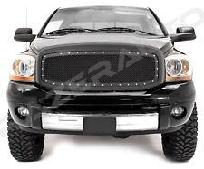 06-08 Dodge RAM 1500+2500 Front Hood Rivet+Matte Black Wire Mesh Grille W/Shell