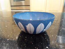 "Vintage MCM Cathrineholm Blue Enamel White Lotus Bowl 4"""
