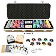 500 Chips Poker Set Gold Case Jacks Casino 11.5g Chips Plastic Cards Casino New