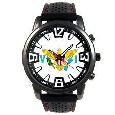 United States Virgin Islands USVI Flag Mens Silicone Quartz Wrist Watch S676F