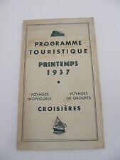 Dépliant Publicitaire Programme Touristique Printemps 1937 Croisières Wahl Nancy