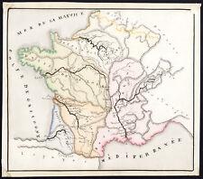 Unique Manuscript Map-FRANCE-RIVER-DIVIDE-DRAINAGE BASIN-Dumont-1865