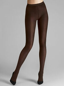 Wolford NWT Mocca Brown Fine Cotton Rib Tights Size M