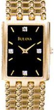 Bulova 97F21 Rectangle 4 Diamond Gold Tone Bracelet S/s Black Dial Swiss Made