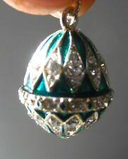 Faberge inspired Russian Egg Pendant /Charm bejeweld Green Easter gift idea 7/8""