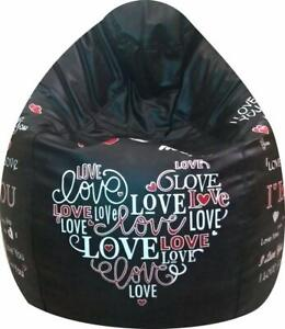 Leather Bean Bag Cover xxxl standard bean bag printed black (Without Beans)