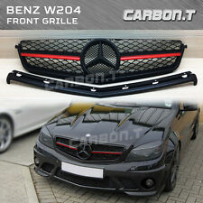 RED METALLIC Matt Black Front Grille Benz C-Class W204 C63AMG 08-11 Sedan