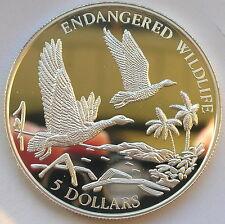 Bahamas 1994 Wild Duck 5 Dollars Silver Coin,Proof