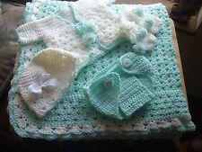 HAND CROCHET BABY blanket PASTEL GREEN SET OF 5 , HELP A CANCER SURVIVOR!