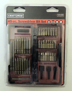 CRAFTSMAN 45 PC SCREWDRIVER BIT SET 26488 9-26488 SCREW BITS & NUTSETTERS