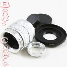 """35mm F/1.7 C mount 2/3"""" CCTV lens body 12 blades silver for Sony E NEX-5R 6 7 3N"""