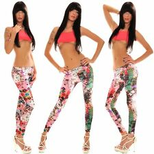 "Leggings Donna Leggins 4WORLD Pantacollant ""Graffiti"" 042-B135 Tg Unica  **"