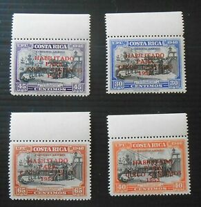 Costa Rica 1953 airmail surcharged set of 4, MNH, MI 493-6
