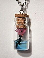 LOTUS FLOWER TERRARIUM NECKLACE dried plant vial bottle aquarium pendant 3D