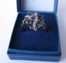 S. SILVER SMOKY QUARD AND DIAMOND QVC RING S USED