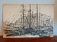 Original Kit Clausen Harbour Scene Created with Pen and Ink (Mono Black White)