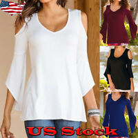 Women Solid Color 3/4 Long Bell Kimono Sleeve Cold Shoulder Blouse Top Shirt Tee