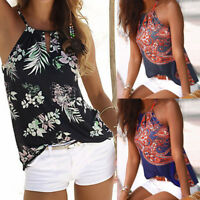Womens Summer Casual Blouse Sleeveless Floral Vest T Shirt Tank Tops Ladies Cami