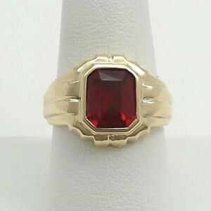 Vintage 10k Gold Faceted Ruby July Birthstone Mens Ring Unisex Heller and Co sz9