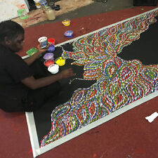 "ABORIGINAL ART PAINTING by JANET GOLDER KNGWARREYE ""BUSH LEAVES"" Authentic, WIP"