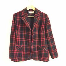 VTG Pendleton Women's 100% Wool Plaid Blazer Jacket Size 12 Made in the USA