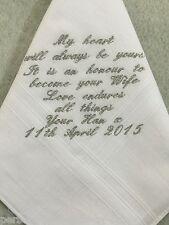 Personalised Handkerchief - Mens Wedding, Groom, Husband to be gift