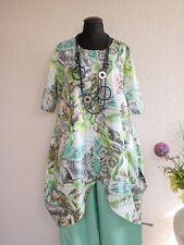LaBass° Schicke Lagenlook Tunika Kleid Baumwolle ~ Mint Floral ~ one size