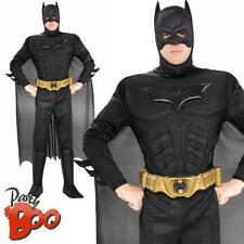Deluxe Dark Knight Batman XL Mens Fancy Dress Adult Superhero Costume Outfit