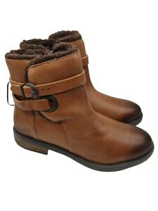 Debenhams leather wide fit brown ankle boots with buckle size 5 uk new rrp 49