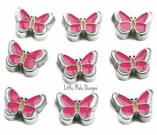 Pink Butterfly Floating Charm For Living Memory Locket Necklace Animal Charms