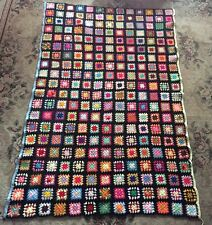 Vintage large Granny Square Handmade Crochet Multi Color Afghan Blanket - Nice!!