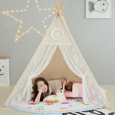Kids Teepee Tent Children Home Canvas Pretend Play Tipi Outdoor Indoor Prof