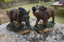 8009  DEUX   FIGURINE STATUETTE  SANGLIER  MARCASSIN  FORET   ANIMAL