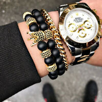 Anil Arjandas 18K Gold Micro Pave CZ Crown Charm Beaded Bracelets Beads Men Set