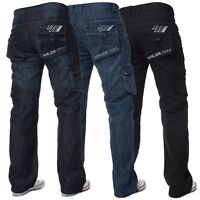 Kruze Mens Combat Trousers Designer Loose Fit Jeans Cargo Big King Denim Pants