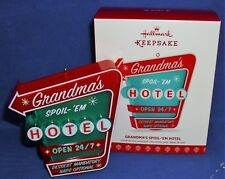 Hallmark Ornament Grandma's Spoil Em Hotel Sign 2017 Grandma Optional Light NIB