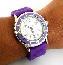 Accutime Purple Ladies Quartz Wrist Watch Rubber Strap Big Dial JCRBR3PRP