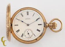 14K Yellow Gold Waltham Wm. Ellery Antique Full Hunter Pocket Watch 8S 7-Jewel
