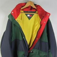 Vintage 90s Tommy Hilfiger Mens Large Colorblock Jacket HoodieRetro Coat L