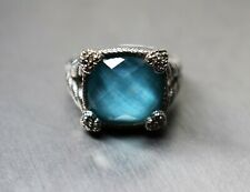 Judith Ripka 925 Sterling Silver Turquoise Doublet Ring Size 7 PreOwned BIN FS
