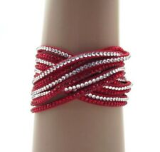 Red & Crystal Wrap Bracelet ~ Six Rows Two Snap Closure