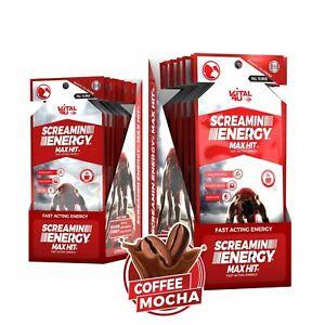 Vital 4U Screamin Energy Max Hit, Panax Ginseng Energy Shot Coffee Mocha, 24ct.