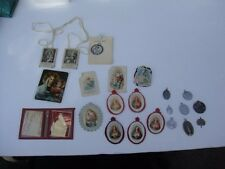 ESTATE FIND VINTAGE RELIGIOUS MEDALS CHARMS CRUCIFIX HOLY CARDS LOT