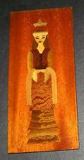 Russian Lady Small Wood Hand Inlaid ExoticTimber Picture Plaque Certificate 1988